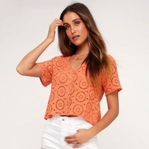Lulu's Eyelet You Love Me Coral Eyelet Button-Up